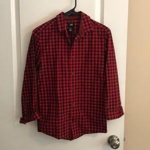Men's H&M XS red and black checkered button-down